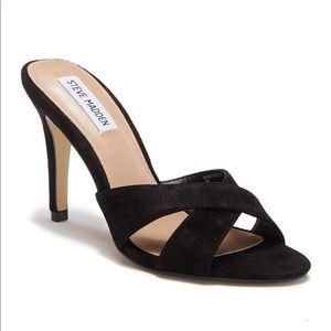 Steve Madden Black Suede Evie Slide Sandal Heels